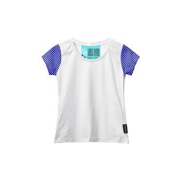 Camiseta Baby Look Feminina Algodão Estampa Xadrez Casual Branco/Azul