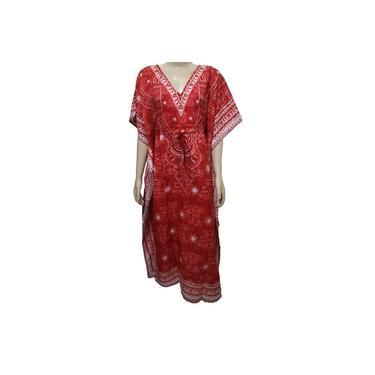 Vestido Longo Tipo Kaftan Indiano Plus Size Estampado - Cod. 202
