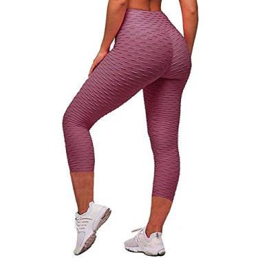 Memoryee Calça legging feminina de cintura alta para ioga, Capris Bean Paste, S