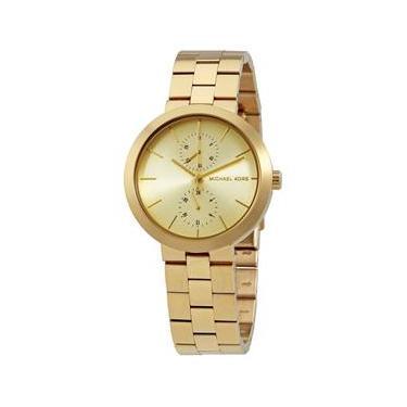 84dfd8ca4d01e Relógio Michael Kors Mk6408 Garner Ladies Pulseira Banhada A Ouro  Resistente À Água A 50 Metros