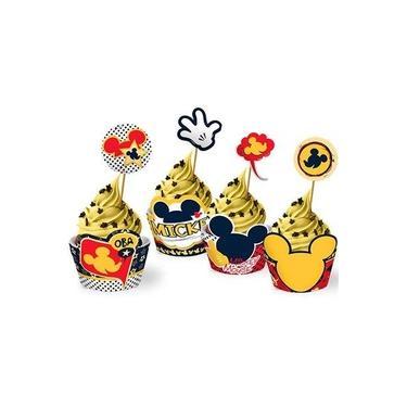 Forma para Cupcake e Enfeite Mickey Clássico - 12 unidades