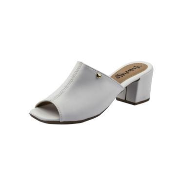 Sandália Amorelle Salto Grosso Branco Conforto Moda  feminino