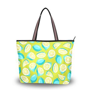 ColourLife Bolsa feminina com alça de mão turquesa brilhante limão bolsa de ombro, Multicolorido., Large