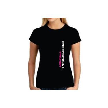 Camiseta feminina baby look personal trainer academia t-shirt educação física 100% algodão Two2 Create PRETA OU BRANCA