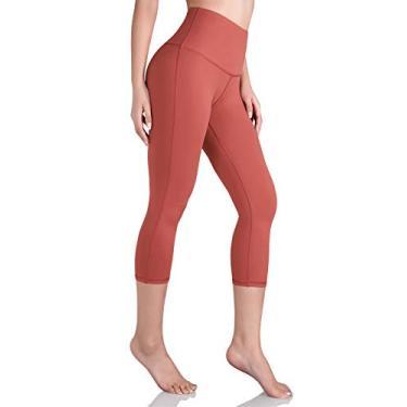 Ododos Calça legging feminina de ioga de cintura alta, controle de barriga, para exercícios e ioga com bolso interno, Capris High Wasit-coral, X-Large