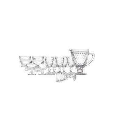 Conjunto de Jarra , Taças para Água e Taças de Sobremesa 13 Pçs  Bico de Abacaxi Transparente - Lyor