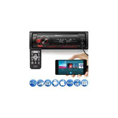 Media Receiver Pioneer MVH-S118UI 1DIN USB Android Iphone Spotify Mixtrax Pendrive Rádio MP3 Player
