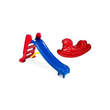 Imagem de Escorregador Infantil 3 Degraus Com Gangorra Cavalinho - Azul E Vermelho