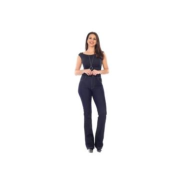 Calça Jeans Azul Feminina Sawary Barra Flare Boot Cut 264626