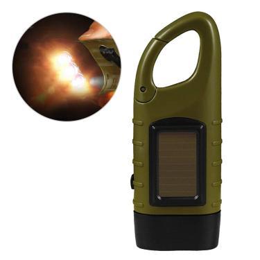 Adaskala Lanterna de manivela recarregável alimentada por energia solar LED lanterna dínamo de emergência com clipe para acampamento ao ar livre, escalada, mochila, caminhada