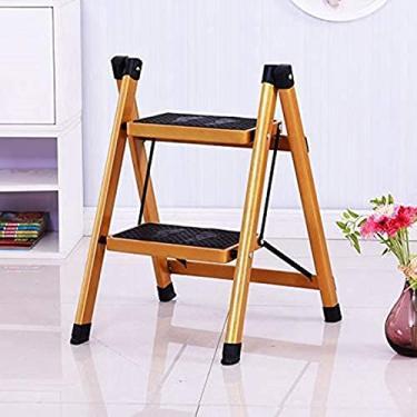 dfff Escada Dobrável Antiderrapante Pequena Escada Dobrável Escada Dourada Segurança, Escada Dobrável com Bandeja de Ferramentas