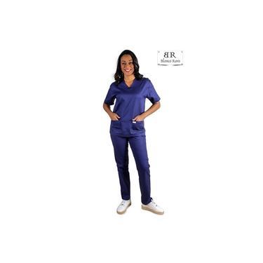 Scrub Pijama Cirúrgico 100% Algodão Azul Marinho Blanco Raro