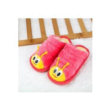 pantufa infantil criança fluff pelúcia veludo macio quente e impermeável antiderrapante pantufas bonito chinelos Lagarta 3D sapatos de fundo grosso em casa doméstico