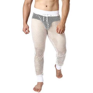 Calça legging masculina de malha transparente Jogal, Branco, Large