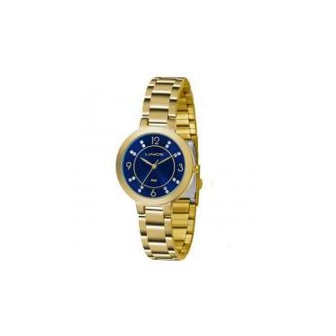 771944a16fd Kit Relógio Lince Feminino Dourado Fundo Azul LRG4516L-KU74 -