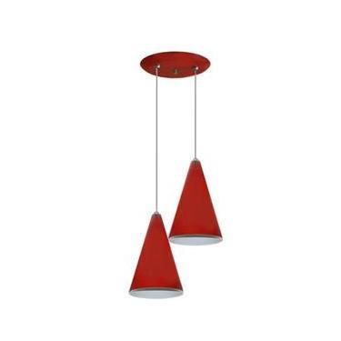 Luminária Pendente Colorido Duplo para Sala Quarto Cozinha - Vermelho