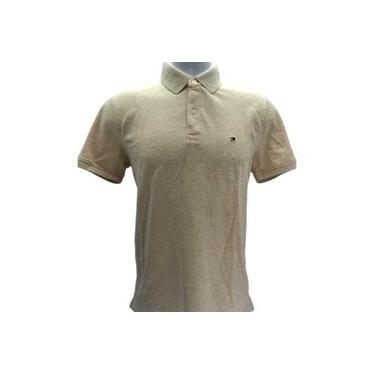 Camisa Gola Polo Masculina Tommy Hilfiger Slim Fit Bege