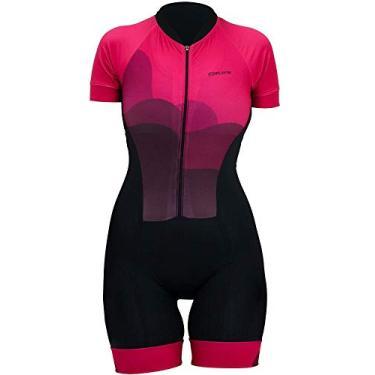Macaquinho de Ciclismo Hupi Delicata, Cor: Preto/rosa, Tamanho: M