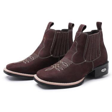 Bota Botina Feminina Texana Pessoni Boots Couro Cano Curto Marrom  feminino