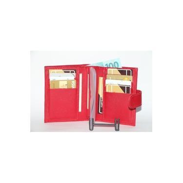 Carteira Feminina Couro Legítimo Praise 822. Porta cartão, moeda e documentos. Preto, Marrom e Vermelho