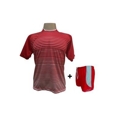 Uniforme Esportivo com 18 camisas modelo City Vermelho/Branco + 18 calções modelo Copa + 1 Goleiro +