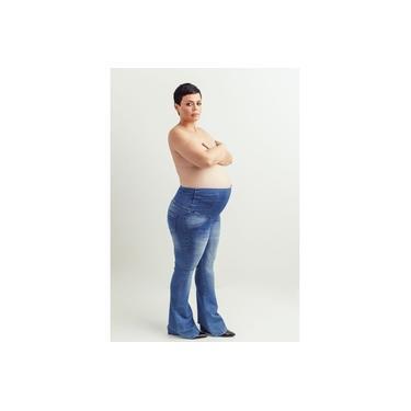 Calça Jeans Flare Juliane Gestante - Azul
