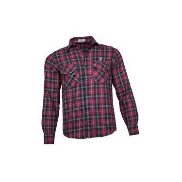 Camisa Xadrez Masculina Flanela Vermelho Preto c73ac46b3f905