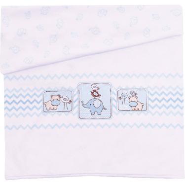 Manta para Bebê Colibri Estampada Suedine - 100% Algodão - 80 x 100 cm - Amiguinhos Azul