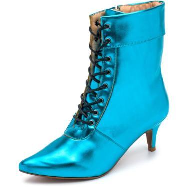 Bota Cano Médio Bico Fino Em Metalizado Azul Serenity  feminino