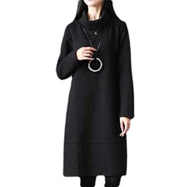 Vestido feminino Fubotevic, ajuste regular, manga comprida, cor lisa, comprimento médio, gola alta, Cinza, L