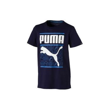 Camisa Infantil Style Graphic Tee Azul - Puma
