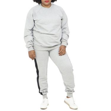 Conjunto Moletom Feminino Plus Size Flanelado Blusa Calça