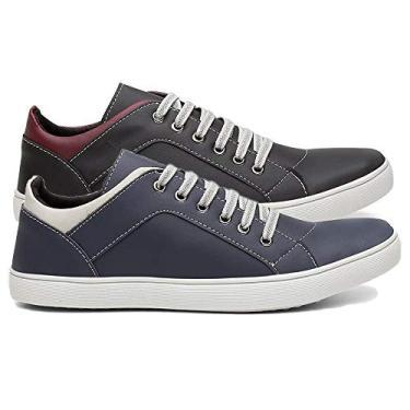 Imagem de Kit 2 Pares Tênis Sapatênis Casual Masculino Conforto Sapato Macio Cor:Preto e Azul;Tamanho:39