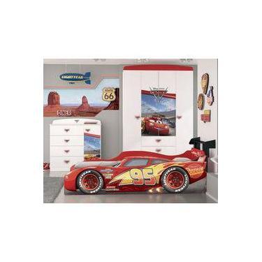 690c70b77 Quarto Infantil Completo Carros Disney Star Com Cama, Guarda Roupa e Cômoda Pura  Magia