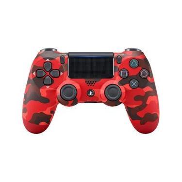 Controle Sony Dualshock 4 Vermelho Camuflado Sem Fio (Com Led Frontal) - Ps4