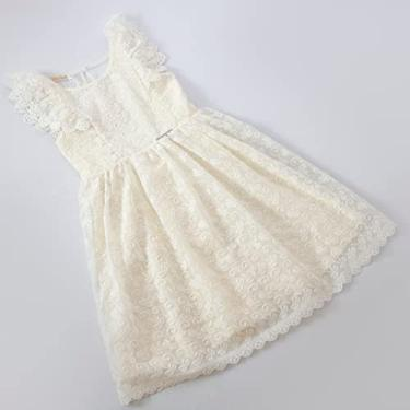 Vestido Infantil em Laise Bordado Off White Cor:Creme;Tamanho:6