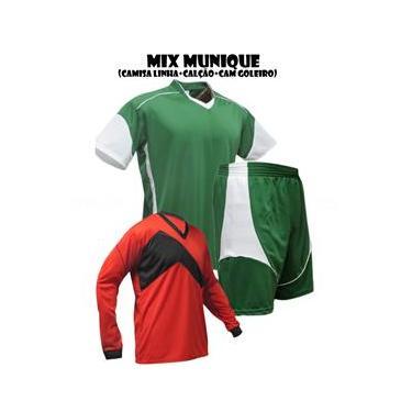 Uniforme Esportivo Munique 1 Camisa de Goleiro Omega + 7 Camisas Munique + 7 Calções - Verde x Branco