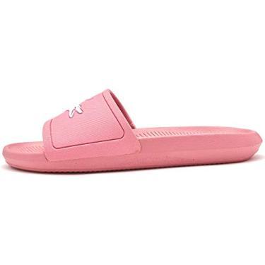 Chinelo Lacoste Croco Slide Feminino Rosa/Branco 34