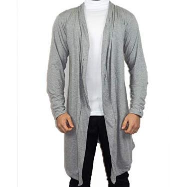 Blusa De Frio Cardigan Masculino Sobretudo Masculino Swag (Cinza, G)