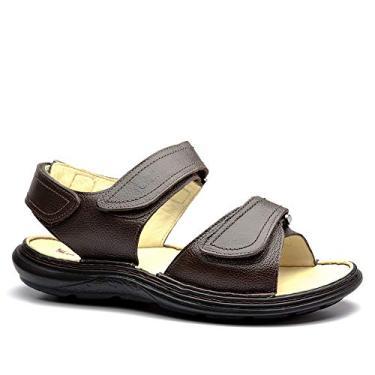 Sandália Masculina 917301 em Couro Floater Café Doctor Shoes-Marrom-39