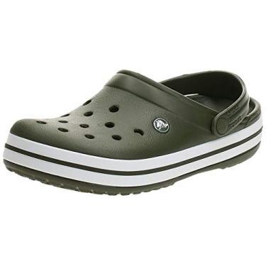 Sandália Crocband, Crocs, Adulto Unissex, Army Green/White, 40