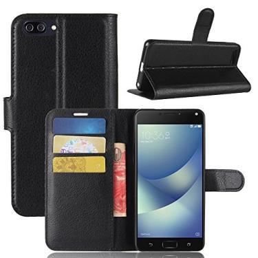"""Capa Capinha Carteira Case 360 Para Asus Zenfone 4 Max M1 Tela De 5.2"""" Zc520kl Couro Sintético Flip Wallet Para Cartão - Danet (Preta)"""