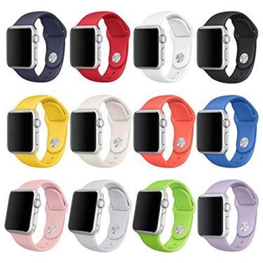 Pulseira Sport Silicone Colorido 42mm para Relógio Apple Watch Series 1, 2, 3 - D (Vermelho)