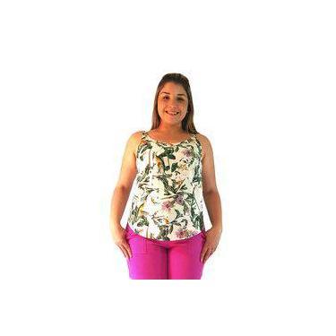 Blusa Feminina Regata em Viscose Estampada Foliage Borda Barroca 53781