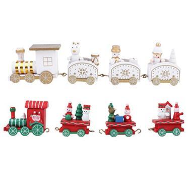 STOBOK 2 Pcs Natal Trens de Madeira Conjunto de Trem de Natal Brinquedo de Madeira Papai Noel Boneco de Neve Enfeite de Natal Decoração Modelo Adornos Decoração de Loja Enfeites