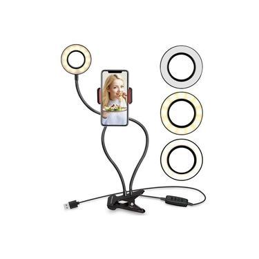 Selfie Ring Light com Suporte para Celular com Luz de Ubeesize e Braços Flexíveis