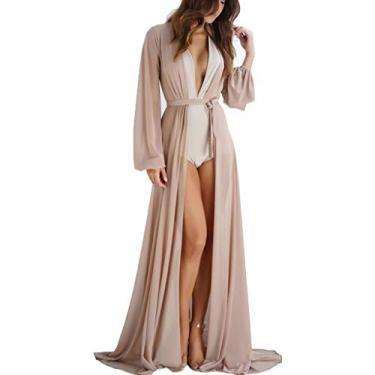 Cardigã feminino sexy de malha de manga comprida com cinto protetor solar, Nude., L