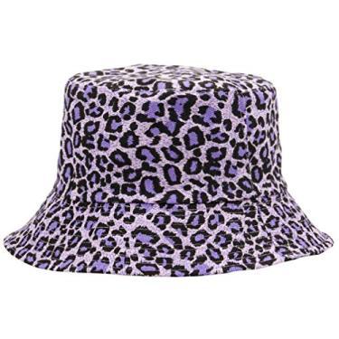 SOIMISS 1 Pc Estampa de Leopardo Pescador Balde Chapéu Chapéu de Sol de Praia Chapéu de Aba Larga Verão Ao Ar Livre para Mulheres Dos Homens (Roxo)