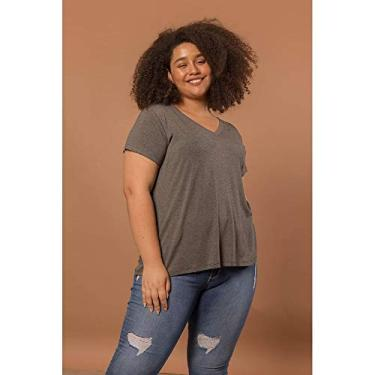Camiseta Decote V Evasê Plus Size Grafite-48/50