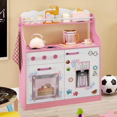 Imagem de Cozinha Infantil 2 Portas 1 Gaveta Com Rodízios Rosa/Branco - Estrela